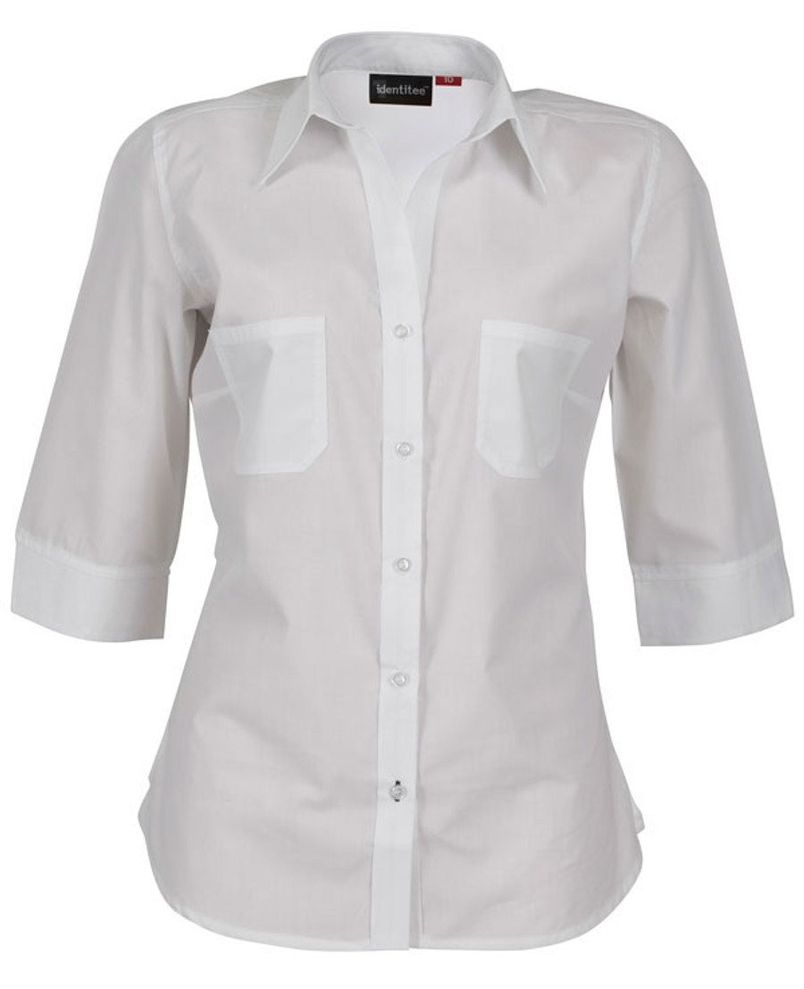 Ladies Harley 3/4 Sleeves Business Shirt (White)