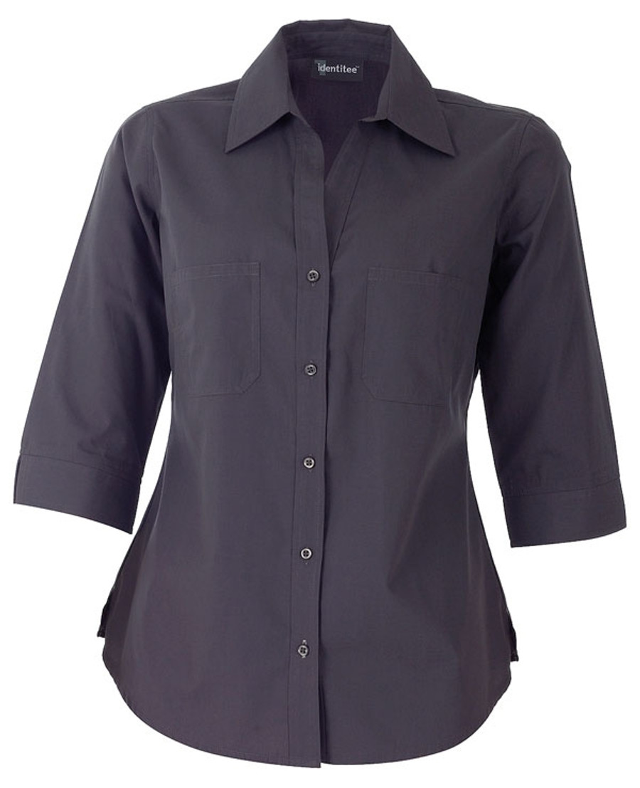 Ladies Harley 3/4 Sleeves Business Shirt (Gun Metal)