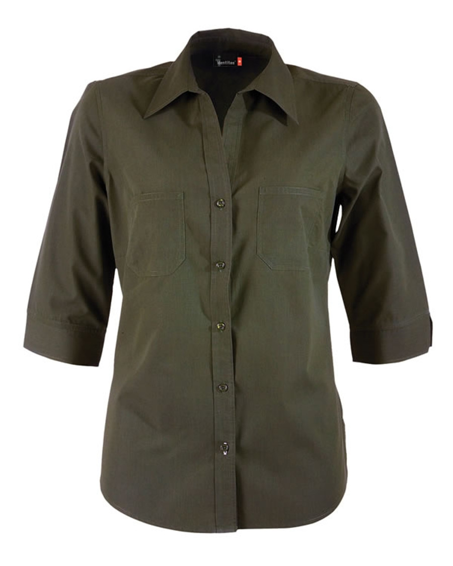 Ladies Harley 3/4 Sleeves Business Shirt (Military)