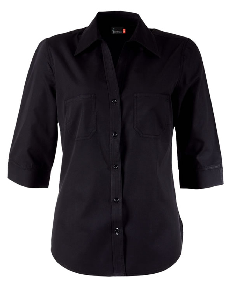 Ladies Harley 3/4 Sleeves Business Shirt (Black)