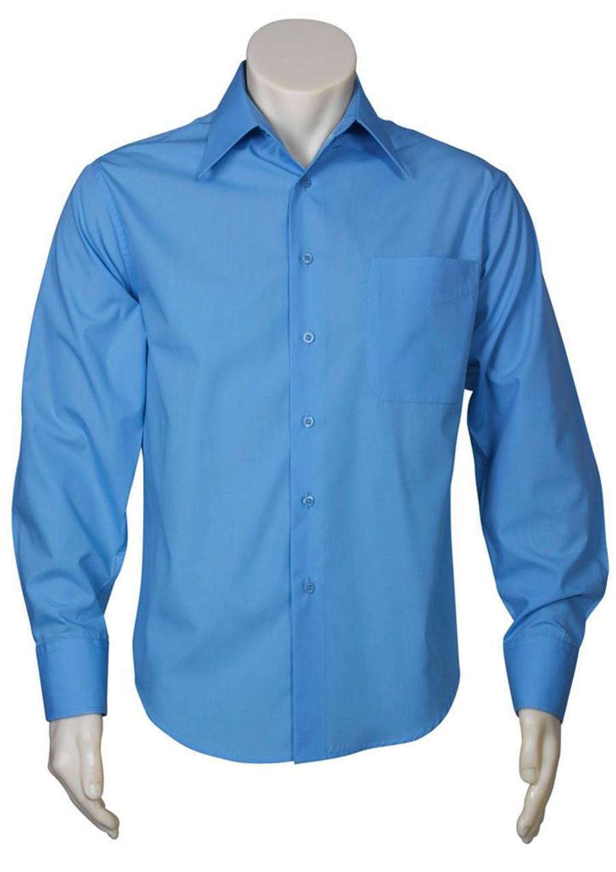 Mens L/S Metro Business Shirt (Mid Blue)
