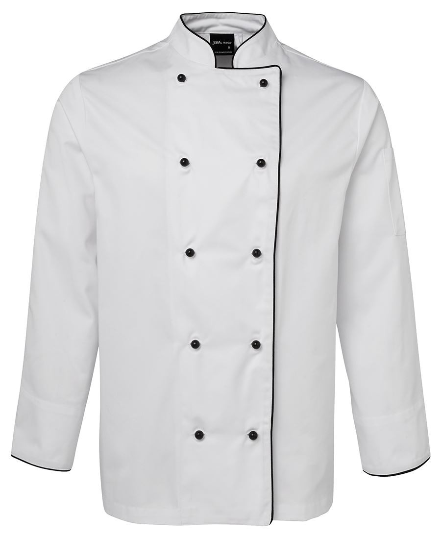 Chefs L/S Jacket (White/Black Piping)