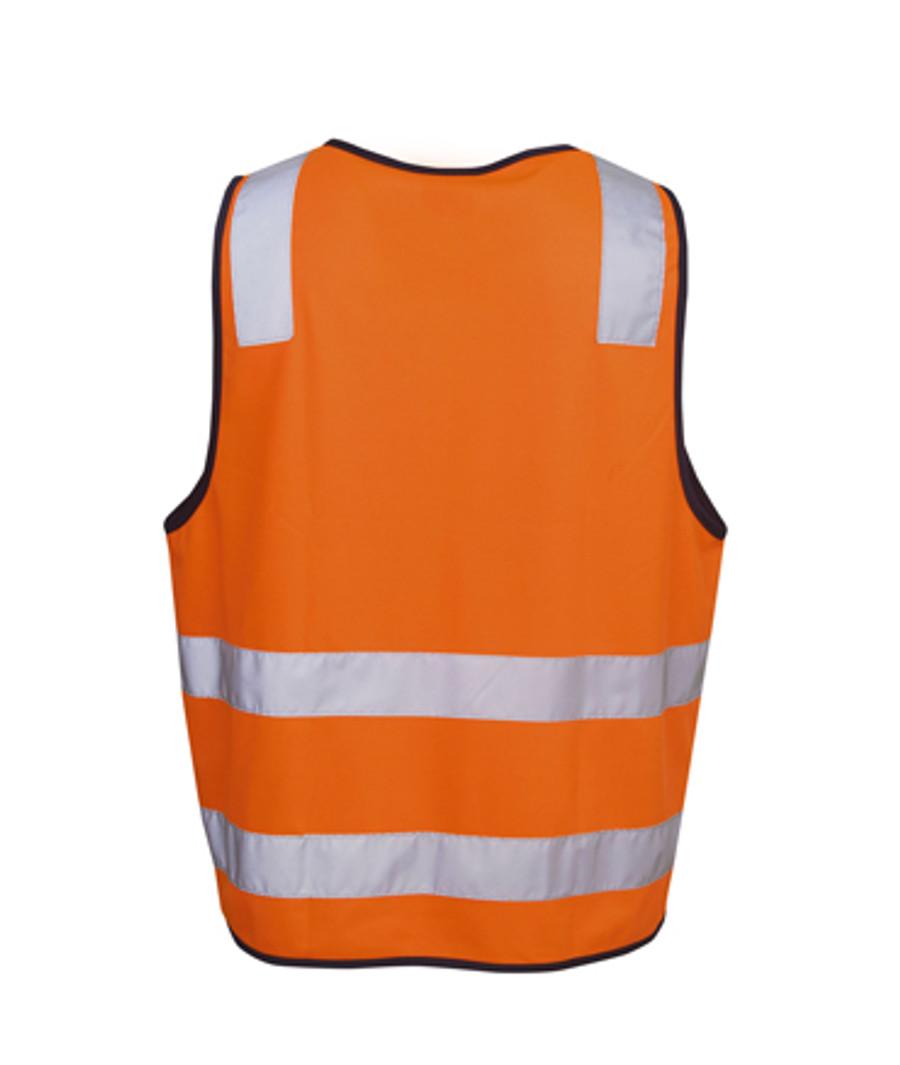 Safety Vest with H Pattern - Fluoro Orange/Navy (Back)