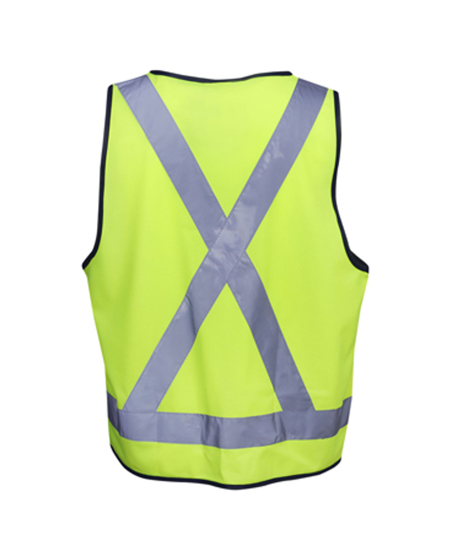 Safety Vest with X Pattern - Fluoro Yellow/Navy (Back)