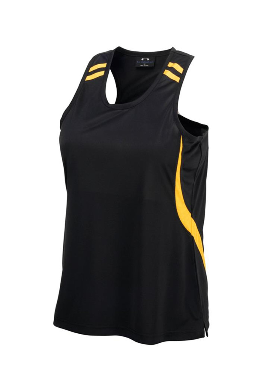 Ladies Flash Singlet (Black/Gold)