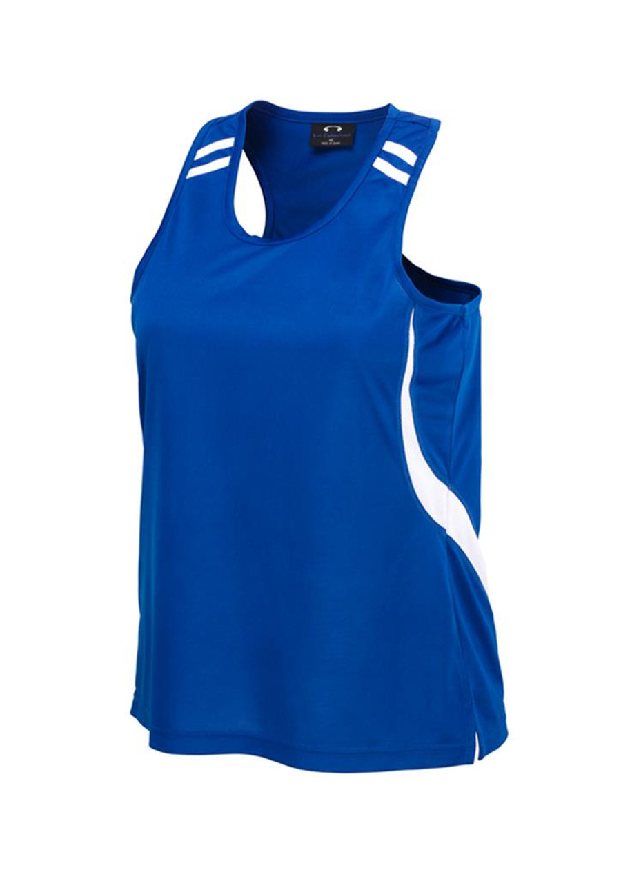 Ladies Flash Singlet  (Royal Blue/White)