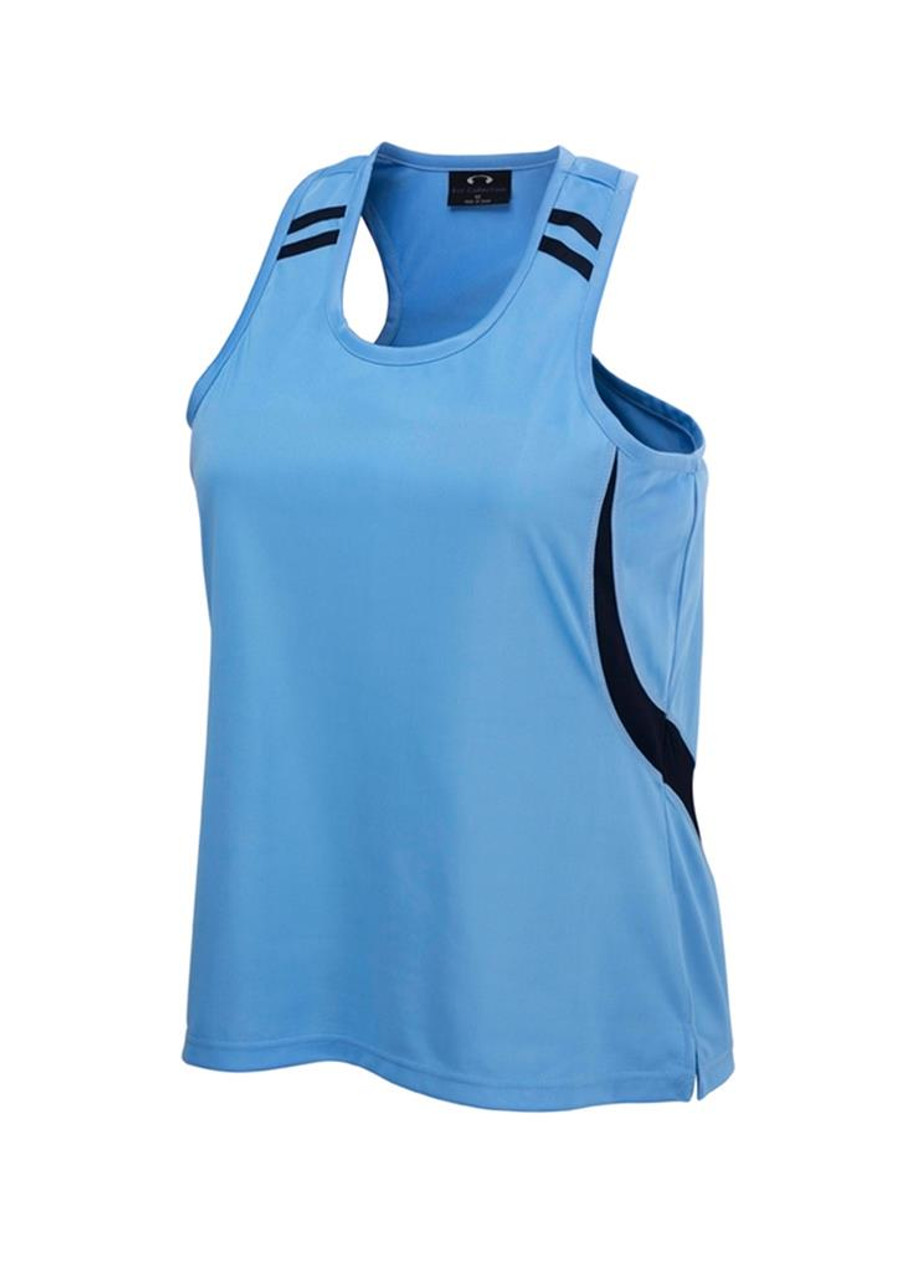 Ladies Flash Singlet (Sky Blue/Navy)