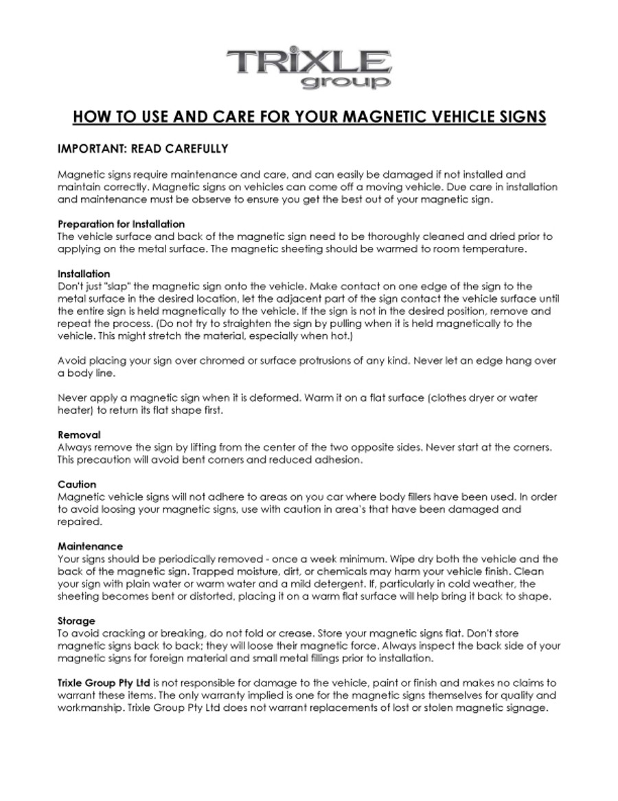 Magnet Care Sheet