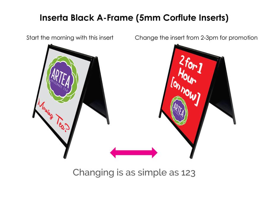 Inserta Black A-Frame (Corflute Inserts) - Trixle Group Pty Ltd
