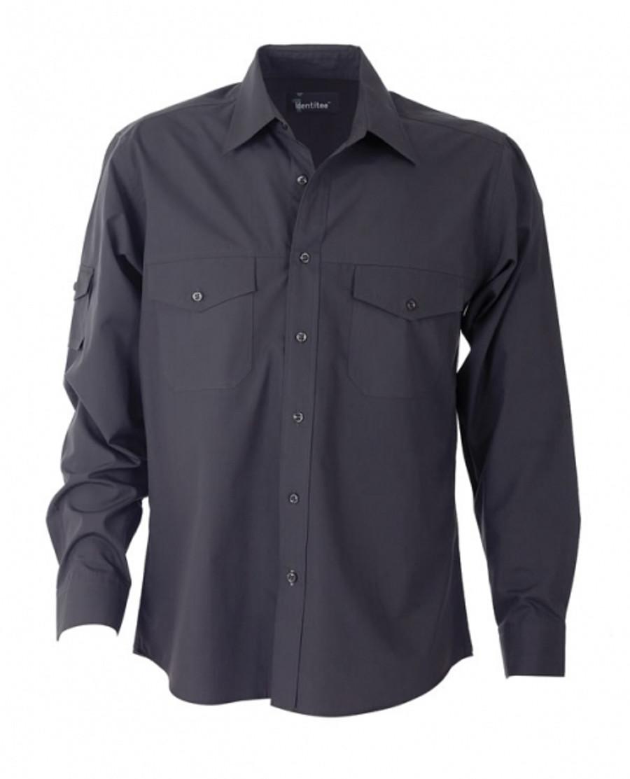 Mens L/S Harley Business Shirt (Gun Metal)