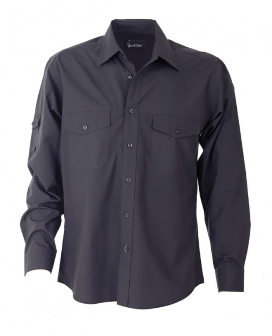 Mens L/S Harley Business Shirt (Gun Metal)