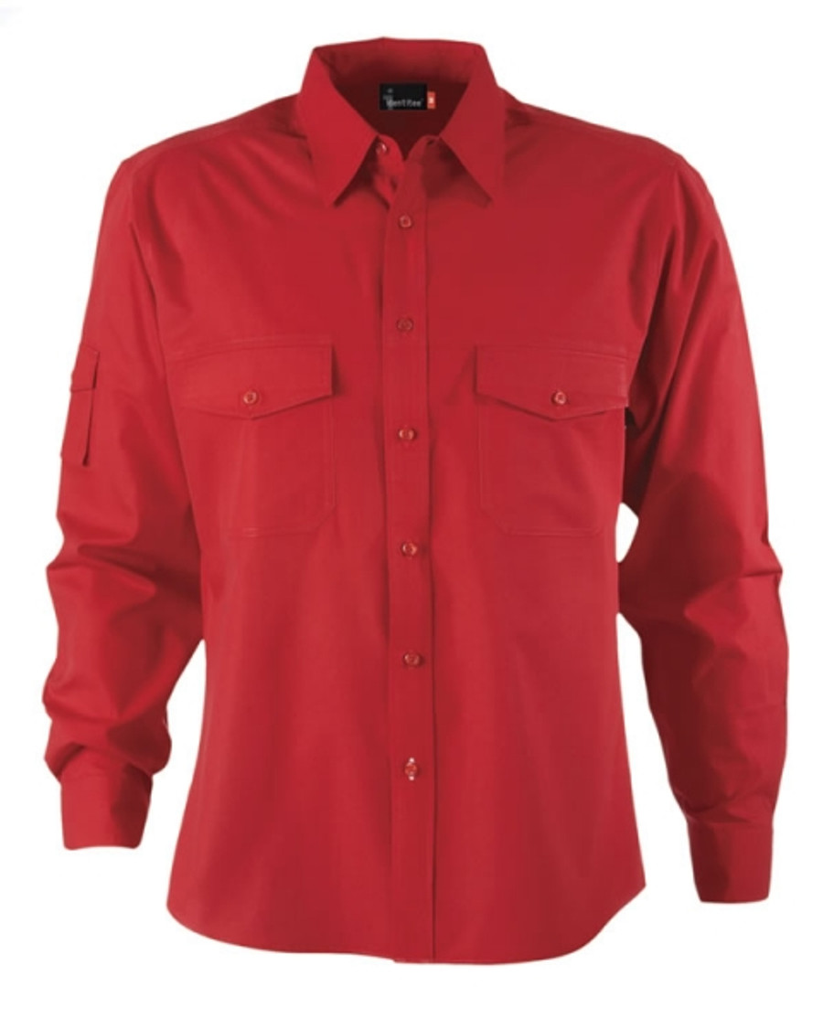 Mens L/S Harley Business Shirt (Red)