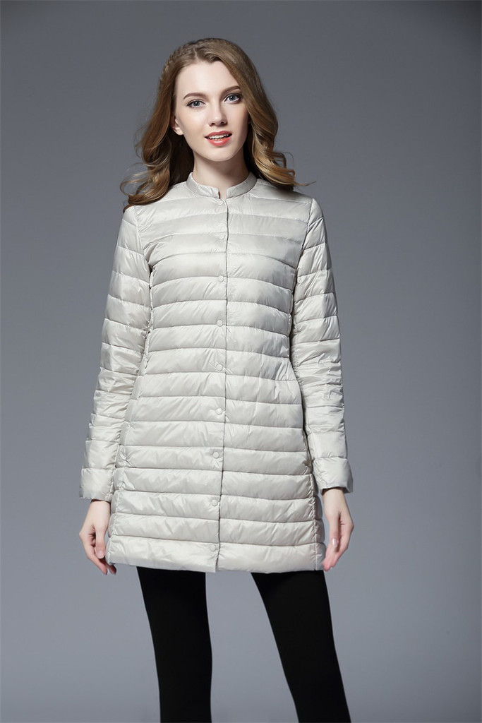 Ladies long lightweight down jacket FO-0710-1
