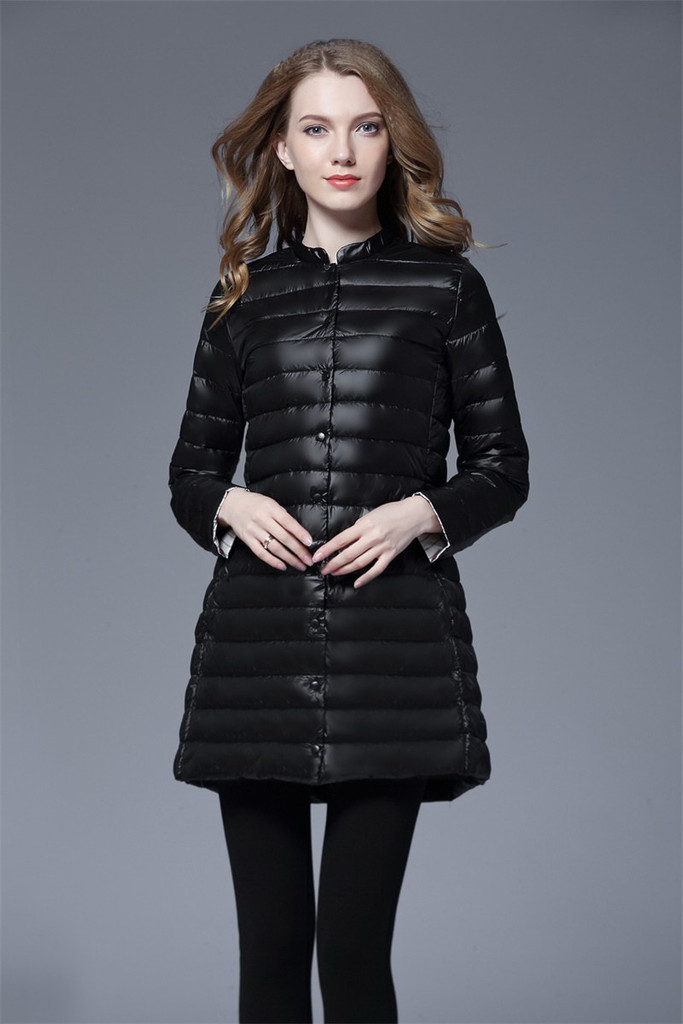 Ladies long lightweight down jacket FO-0710-2