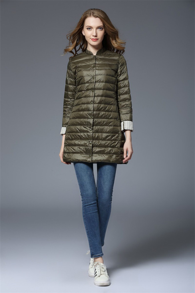 Ladies long lightweight down jacket FO-0710-3