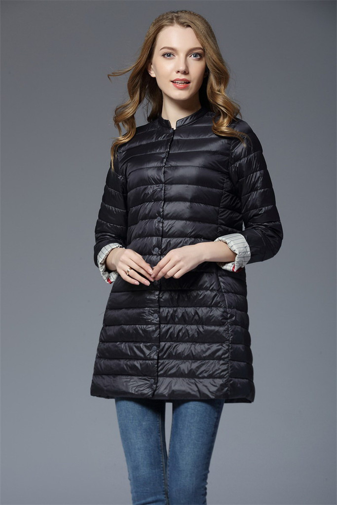 Ladies long lightweight down jacket FO-0710-4