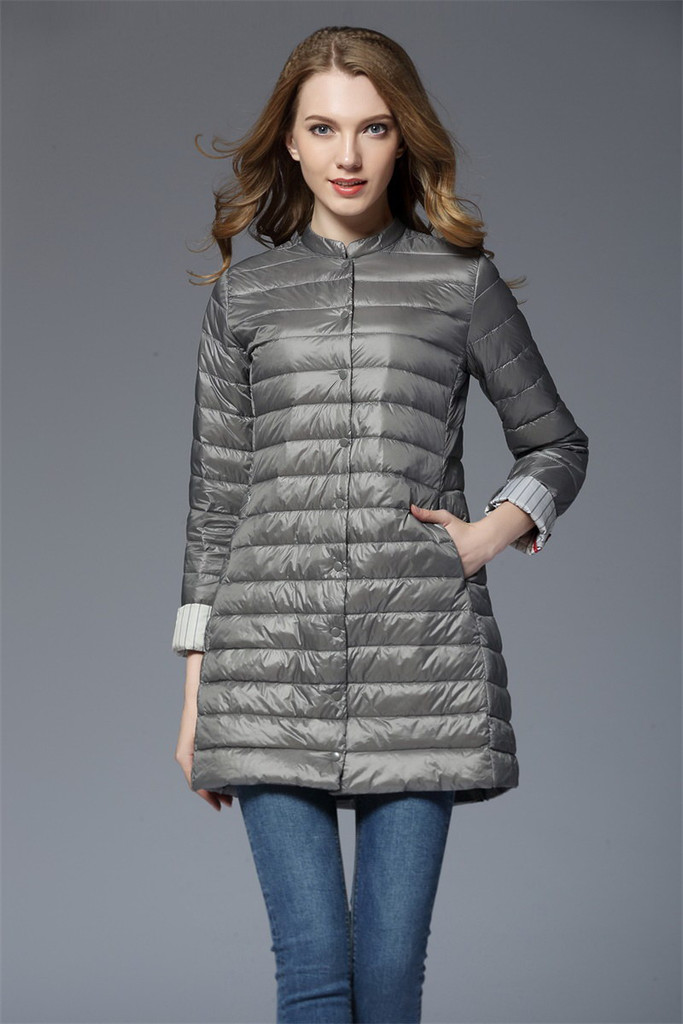 Ladies long lightweight down jacket FO-0710-5