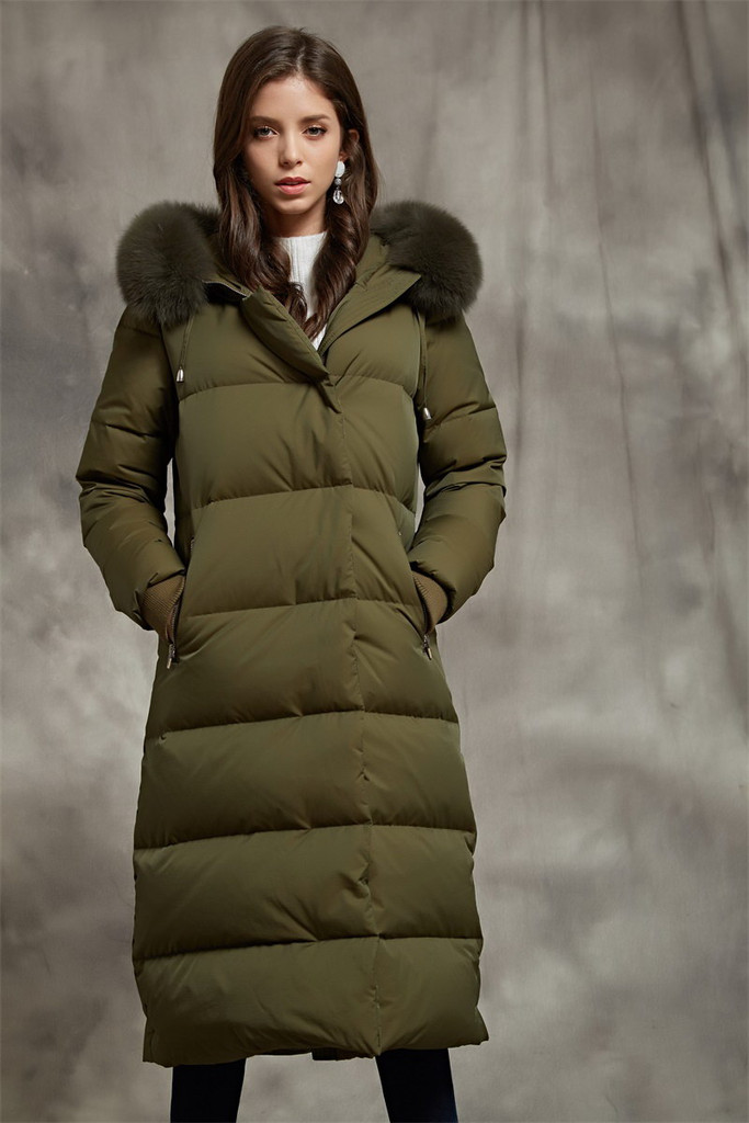 Women's long 800 Fill Power goose puffer coat FO-0828