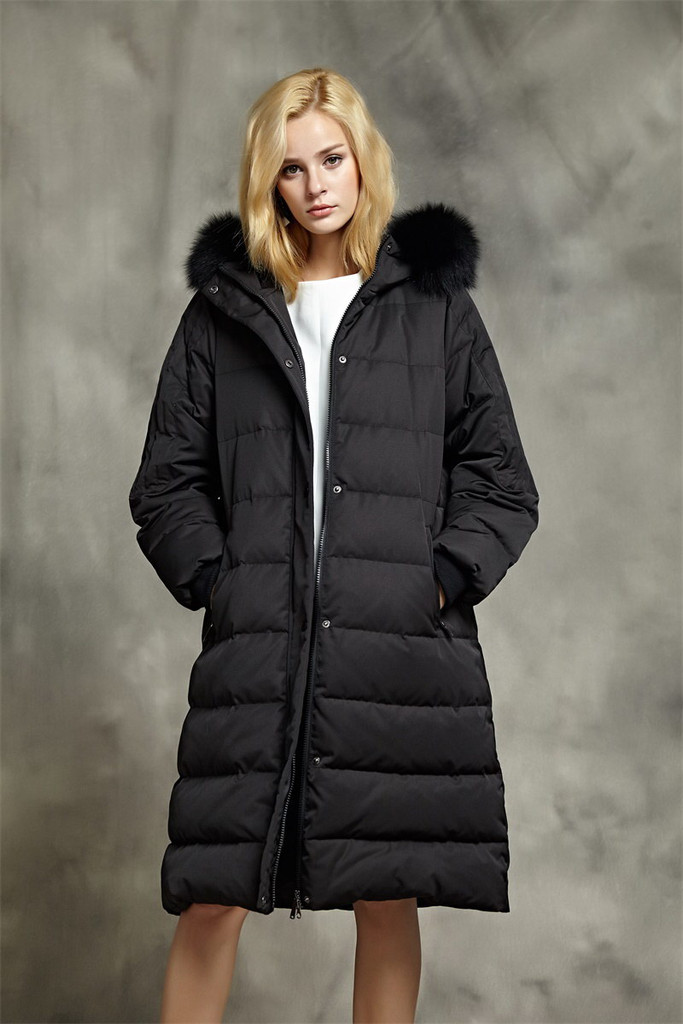 Women's long 800 Fill Power goose puffer coat FO-0833