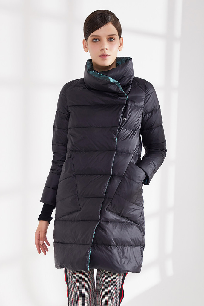 Women's long 800 Fill Power goose puffer coat FO-0849