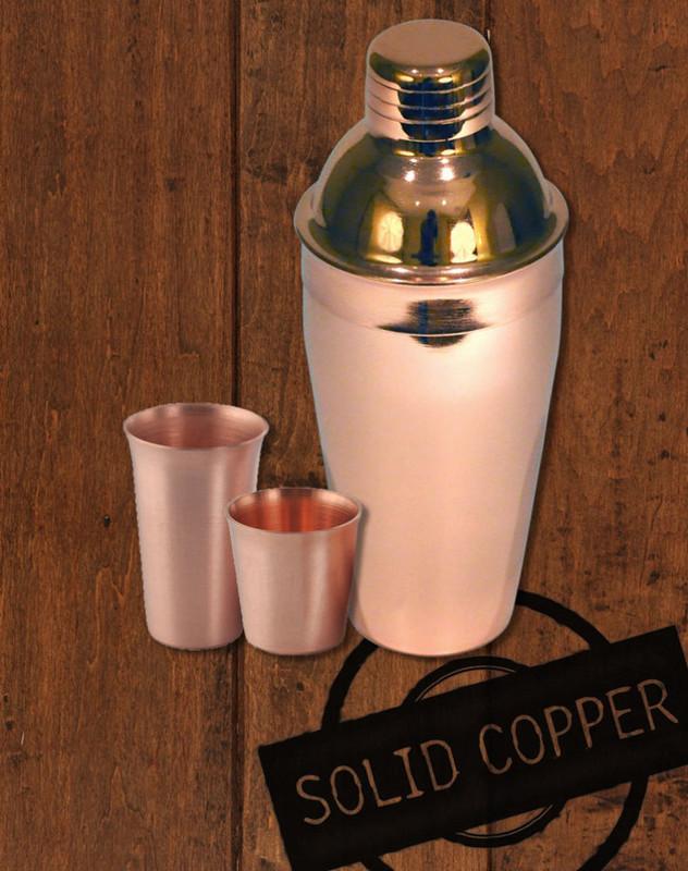18oz Copper Cocktail Shaker & Shot Glasses Gift Set