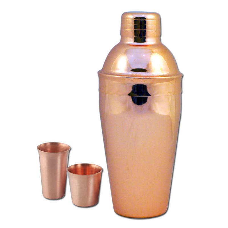 Copper Cocktail Shaker & Shot Glass Gift Set