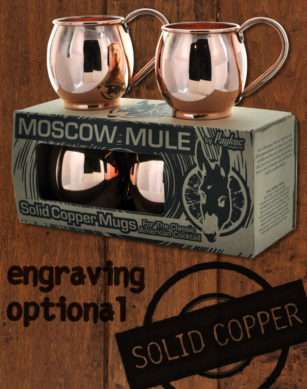 4 Pack - 16oz Solid Copper Moscow Mule Barrel Mugs
