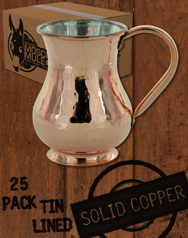 25 Pack - 13.5 oz Hammered, Solid Copper Tin Lined Moscow Mule Kettle Mug
