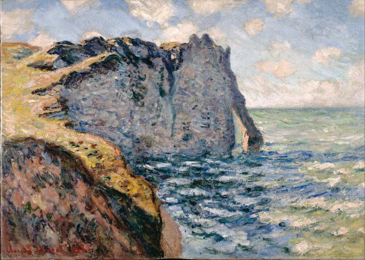 Very High Resolution Monet Image, copyright free art, royalty free art,  Monet, The Cliff of Aval at Etretat