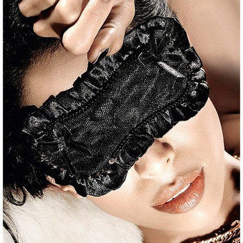 Playful Black Satin Eye Mask