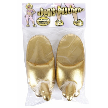 Gold Slippers with Penis