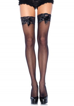 Sheer Thigh Highs Lace Top Black O/S