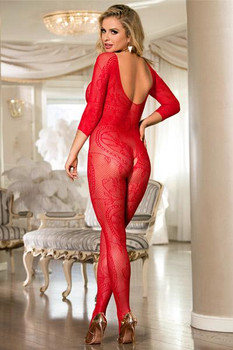 Bodystocking rouge ouvert manches mi-longues O/S
