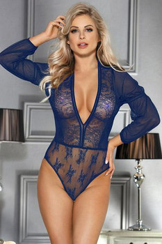 Body bleu décolleté R80542 Paris Hollywood Plus Size