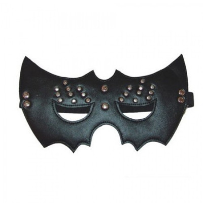 Black leather open eye mask with rivets