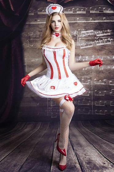 Costume sexy d'infirmière avec accessoires O/S