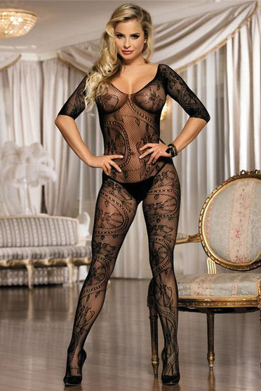 Bodystocking noir ouvert manches mi-longues Black O/S
