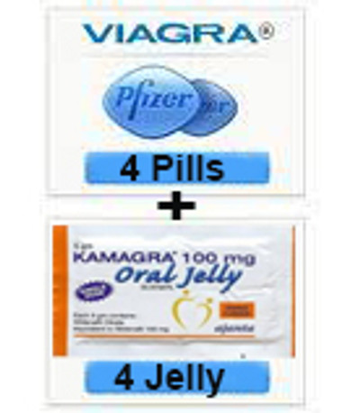 Combo Viagra Sildenafil Tablets 100mg + Kamagra Sildenafil Oral Jelly 100mg (4pills + 4Jellys) 8 Pcs