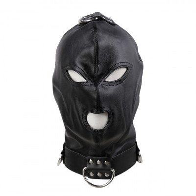 BDSM Cyprus-Leather Black Hood with side metal o-rings