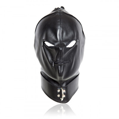 BDSM Cyprus-Godzilla Leather Black Hood with zippers mouth eyes