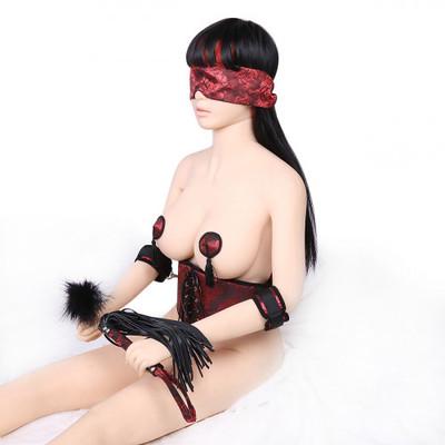 BDSM Bondage Set Cyprus-Six Piece Red Satin Bondage Set for Women