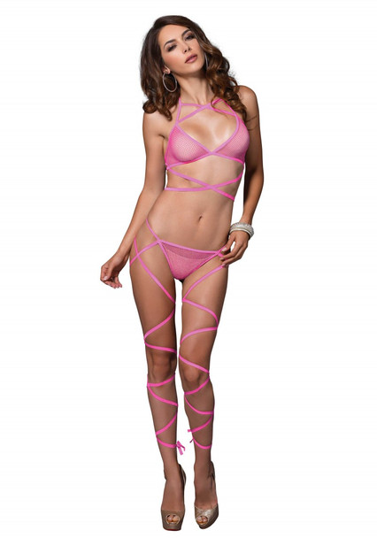 2 Pc. Wrap Around Lingerie Set Pink O/S
