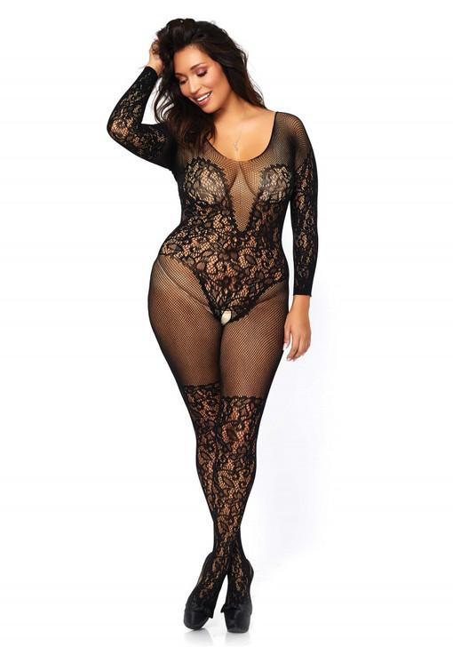 Vine lace and net bodystocking Black Plus Size