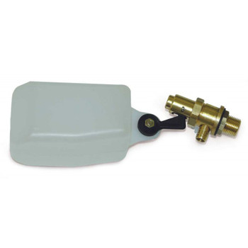 "FLOAT VALVE - BALL/STEM - W/ WHITE FLOAT - BRASS - 1/2"" MPT"