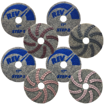 "REV DIAMOND PAD KIT - STEP 1-4 - 17"", STONEPRO"