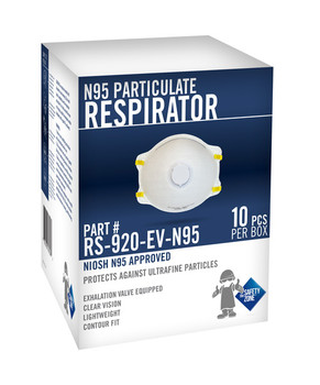 White Respirator with Exhalation Valve RS-920-EV-N95 100/BOX