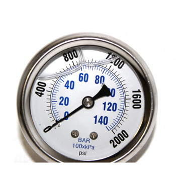 PRESSURE GAUGE - BACK MOUNT - WHITE FACE - 2000 PSI