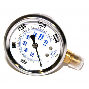 PRESSURE GAUGE - BOTTOM MOUNT - 2000 PSI