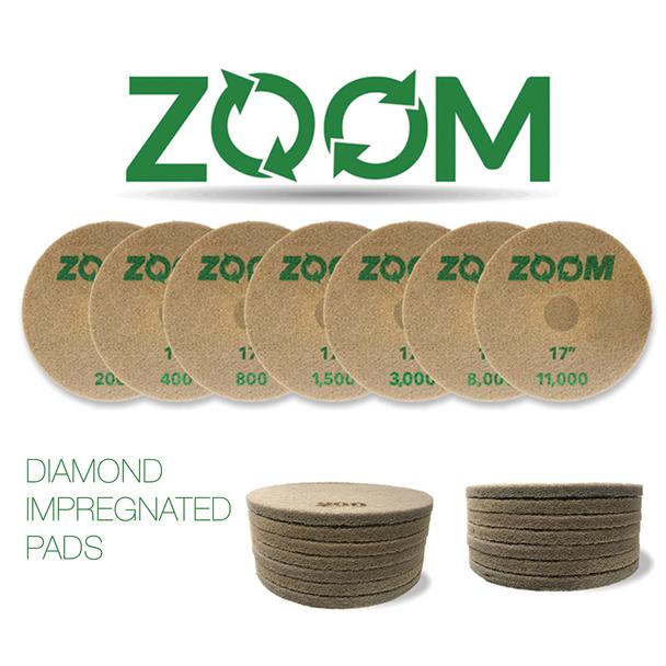 ZOOM DIAMOND IMPREGNATED PADS, SET, STONEPRO