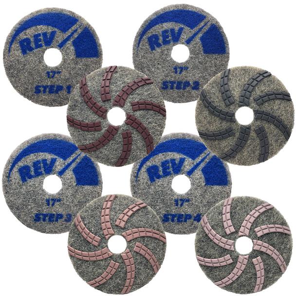"""REV DIAMOND PAD KIT - STEP 1-4 - 17"""", STONEPRO"""